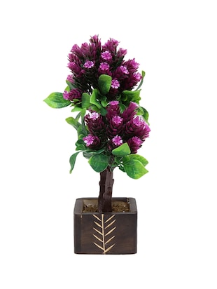 Random Artificial Potted Bonsai Twin Trunked Tree with Dark Purple Flowers