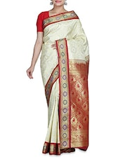 White Silk Saree With Blouse Piece - By