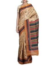 Beige Printed Art Bhagalpuri Ghicha Silk Saree - By