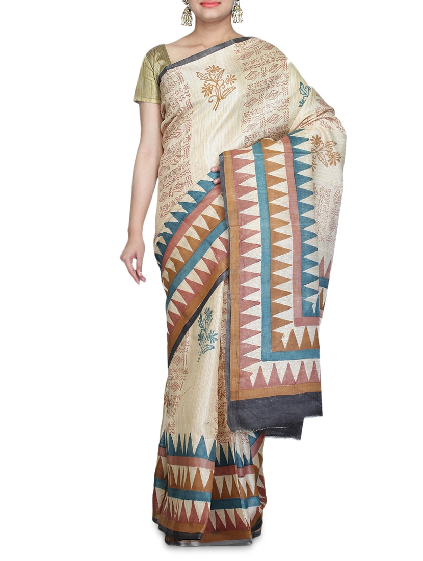 Beige Printed Art Bhagalpuri Ghicha Silk Saree - By - 1227211