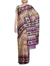 Beige Art Bhagalpuri Ghicha Silk Block Print Sari - By - 1227219