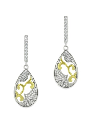 White silver drop earring