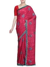 Dark Pink Crepe Jacquard Embroidered Sari - By