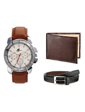 Arum BrownWatch & Wallet With Belt Combo -  online shopping for Watch Combos
