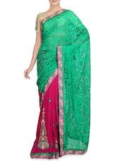 Pink Net Brasso Chiffon Embroidered Sari - By