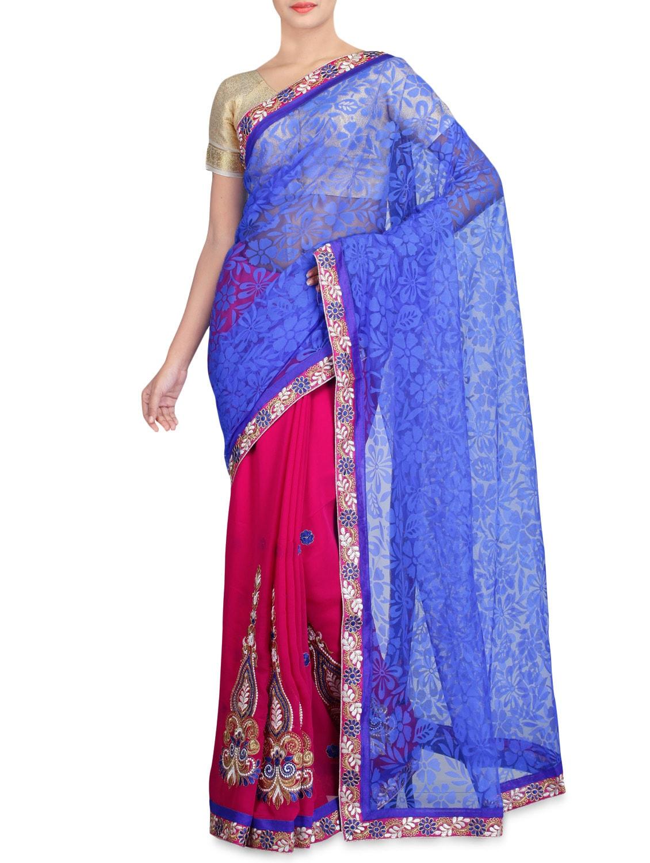 Pink Net Brasso Chiffon Embroidered Sari - By - 1227389