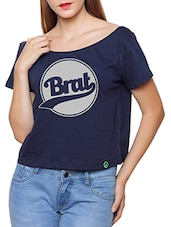navy blue printed cotton crop top -  online shopping for Tops