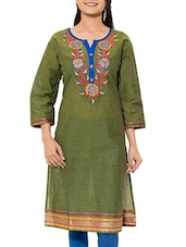 Olive Green Cotton Straight Kurta - By