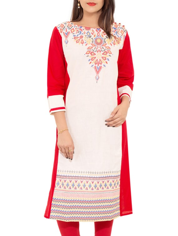 Red Cotton Straight Kurta - By