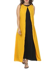 yellow and black crepe maxi dress -  online shopping for Dresses