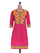 Pink And Yellow Printed Cotton Kurti - By