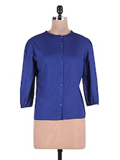 Dark Blue Rayon Top With Elastic Sleeve Cuffs - By