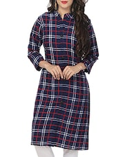 Blue Poly Crepe Regular Kurta - By