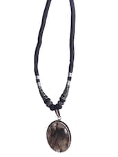 Black Hand Worked Precious Stones Yarn Necklace - By