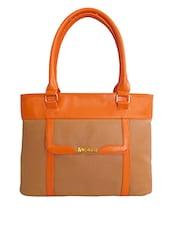 Beige Leatherette Shoulder Bag - By