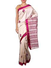 White And Pink Cotton Embroidered Sari - By