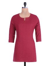 Maroon Cotton Short Kurta - By