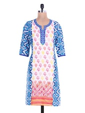 Printed Blue And White Cotton Kurta - By