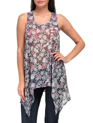 Grey Polyester Printed Tunic