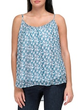 Green And White Polyester Printed Top - By