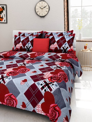 Multi-coloured Cotton Printed Double Bed Sheet Set