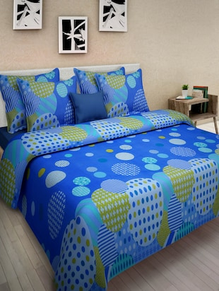 Blue Cotton Printed Double Bed Sheet Set