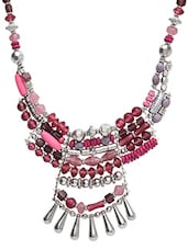 Pink Metallic Embellished Necklace - By
