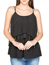 solid black layered top -  online shopping for Tops