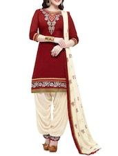Maroon And Cream Cotton Embroidered Suit Set - By