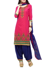 Pink And Blue Cotton Embroidered Suit Set - By