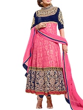 Blue And Pink Georgette Unstitched Suit Set - By