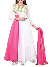 Pink And White Georgette Embroidered Suit Set - By