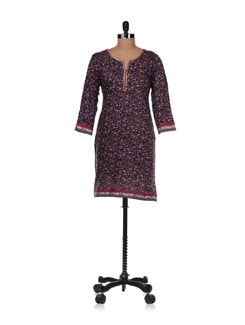 Navy Blue Floral Print Cotton Kurta - Diva
