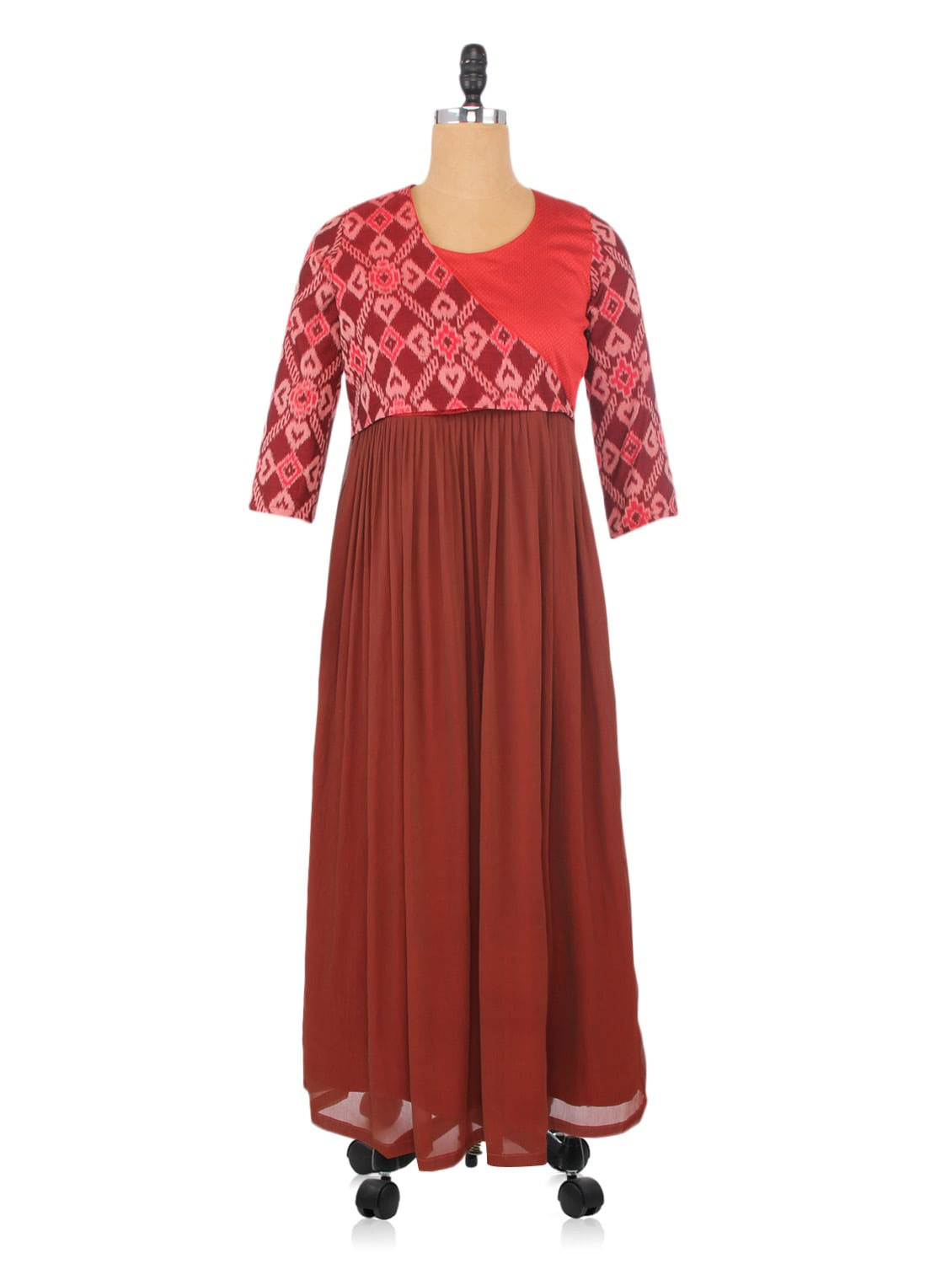 Maroon And Brown Cotton Chiffon Printed Dress - By