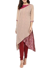 beige georgette regular kurti -  online shopping for kurtis