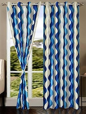 Blue Plain Nylon Door Curtain - By