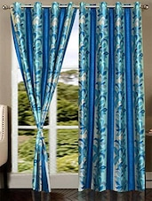 Blue Floral Printed Nylon Door Curtain - By