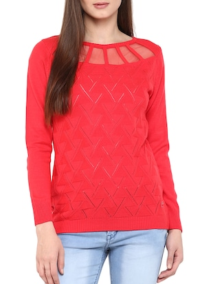 solid red woolen pullover