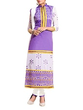 Purple And White Embroidered Unstitched Suit Set - By