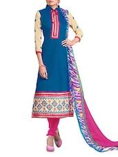 Blue And Beige Embroidered Unstitched Suit Set - By