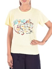 yellow printed viscose regular top -  online shopping for Tees