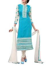 Sky Blue And White Embroidered Unstitched Suit Set - By