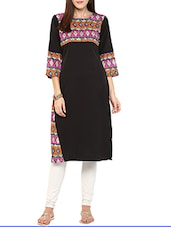 Black Poly Crepe Long  Kurta - By
