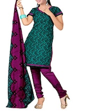 Sea Green And Black Printed Unstitched Suit Set - By