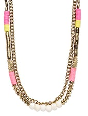 Beads And Gold Chain Necklace - By
