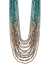 Teal And Gold Beaded Layered Necklace - By