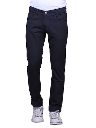black denim plain jeans