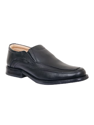 black leather slip on ons