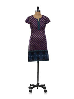 Purple Printed Kurta - Aurelia