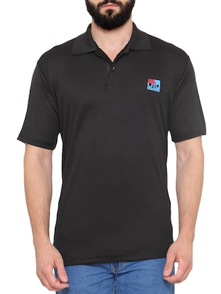 solid black polyester polo t-shirt